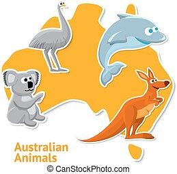 mapa, jogo, animais, experiência., australiano, adesivos
