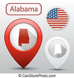 mapa, jogo, bandeira estatal, alabama, américa, ponteiro