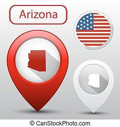 mapa, jogo, bandeira estatal, arizona, américa, ponteiro