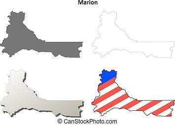 mapa, jogo, esboço, município, oregon, marion