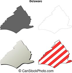 mapa, jogo, esboço, pensilvânia, município, delaware