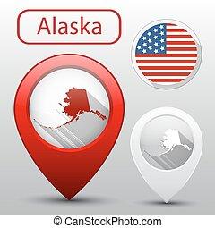 mapa, jogo, estado, alaska sinalizam, américa, ponteiro