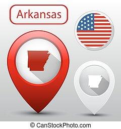 mapa, jogo, estado, arkanzas, bandeira, américa, ponteiro