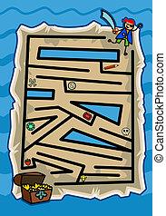 mapa, jogo, tesouro, pirata, labirinto