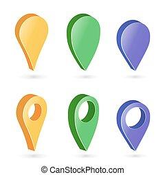 mapa, jogo, vector., coloridos, pointers., ponteiro, navegador, modernos, isolado, redondo, fundo, sombra, 3d, macio, branca, ícone