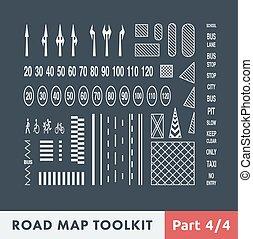 mapa, juego herramientas, camino