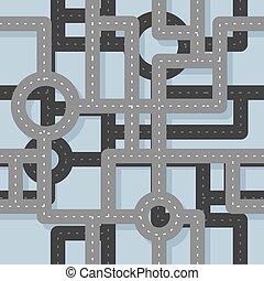 mapa, junção, cidade, pattern., seamless, highway., experiência., tráfego, estrada, levels., vários, rodovia, infinito