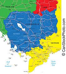 mapa, kambodża