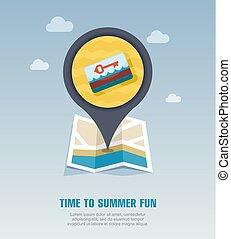 mapa, keycard, alfiler, electrónico, vacaciones, icon.,...