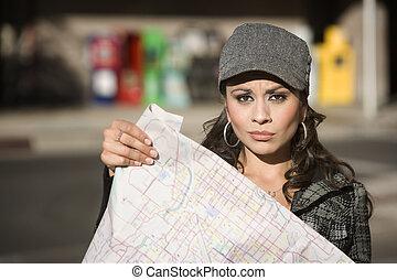 mapa, kobieta, młody