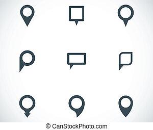 mapa, komplet, ikony, wektor, czarnoskóry, wskazówka