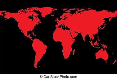 mapa, kontynenty, czerwony, świat