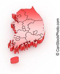 mapa, korea., meridional, tridimensional