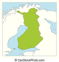 mapa, kraje, finlandia, highlighted, zielony, sąsiad