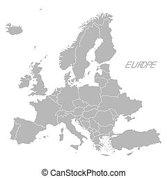 mapa, kraje, szary, europa