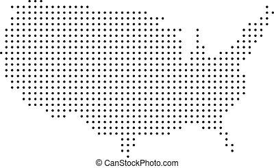 mapa, kropkowany, usa