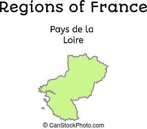 mapa,  la, wynagradza, od, francja, administracyjny,  Loire