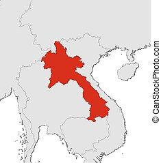 mapa, -, laos