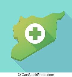 mapa, largo, señal, siria, sombra, farmacia, redondo