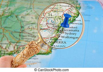 mapa, lehce sešít, sydney