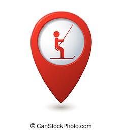 mapa, levantamiento, indicador, icono, esquí