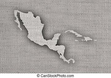 mapa, linho, antigas, américa, meio