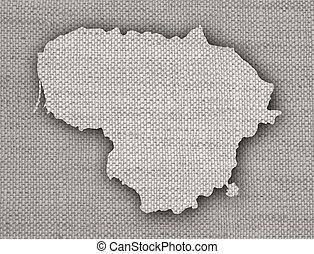 mapa, linho, antigas, lituânia