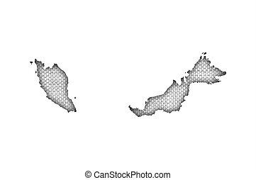 mapa, linho, antigas, malásia
