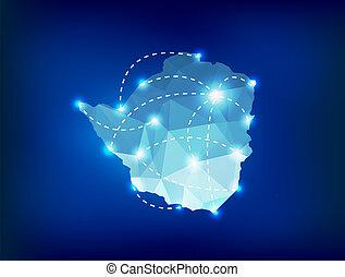 mapa, lugares, país, punto, polygonal, luces, zimbabwe
