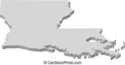 mapa, -, luisiana, (united, states), -, 3d-illustration