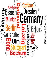 mapa, más grande, alemania, palabras, ciudades, nube
