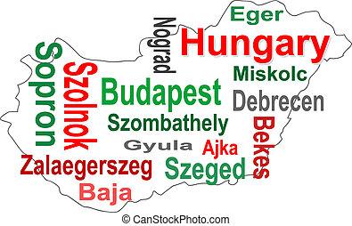 mapa, más grande, palabras, hungría, ciudades, nube