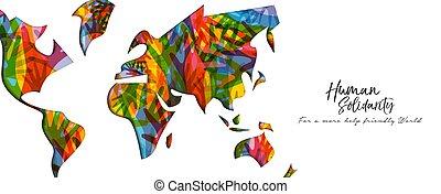 mapa, mão, diverso, human, mundo, bandeira, dia, solidariedade