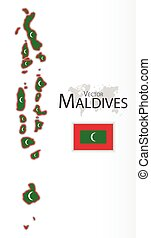 mapa, maldives, transporte, ), (, bandeira, conceito, república, turismo