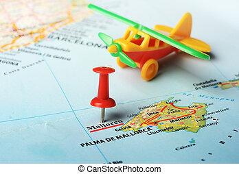 mapa, mallorca, isla, avión