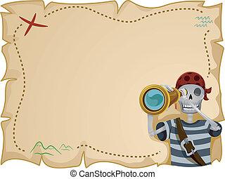 mapa, marco, tesoro, pirata