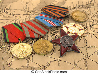 mapa, medallas