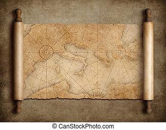 mapa, medieval, vendimia, mediterráneo, tabla, rúbrica