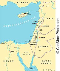mapa, mediterrâneo, político, oriental