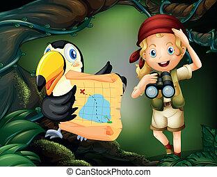 mapa, menina, telescópio, pássaro
