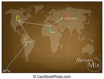 mapa, mercadotecnia, estrategia, mezcla, 4ps, mundo, modelo, o