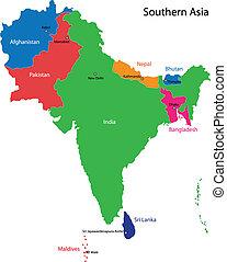 mapa, meridional, asia