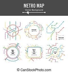 mapa metro, vector., plano, mapa, estação, metro, e, estrada...