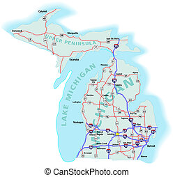 mapa, michigan, estado, interestatal