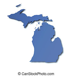 mapa, michigan, -, estados unidos de américa
