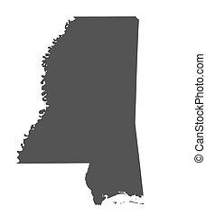 mapa, misisipí, -, estados unidos de américa