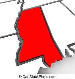 mapa, misisipí, unido, resumen, estados, estado, américa, rojo, 3d