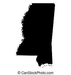 mapa, mississippi, eua., estado