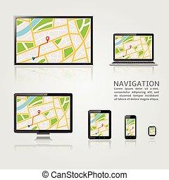 mapa, moderno, dispositivos, despliegue digital, gps