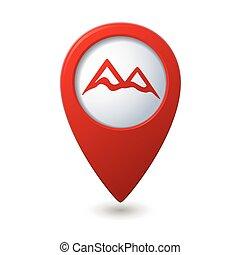 mapa, montanha, ponteiro, ícone